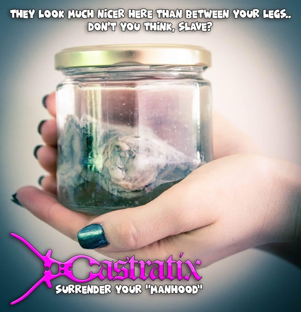 Femdom castration balls in jar